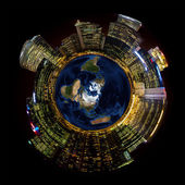 Bright City Lights on Miniature Planet Earth — Stock Photo