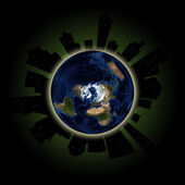 Earth Hour Concept: Global Lights Out Event in Major Cities — Stock Photo