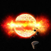 Fiery Explosion of Planet in Outer Space — Stock Photo