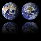 Blue Earth Eastern and Western Hemispheres — Stock Photo
