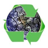 Recycling Symbol Over Fragile Planet Earth — Stock Photo