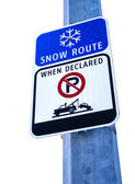 Snow Route Sign, No Parking When Declared — Stock Photo
