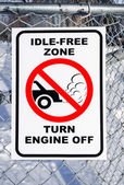 Idle-Free Zone, Turn Engine Off Sign — Foto Stock