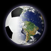 Soccer Ball and Planet Earth Merged Together — Stock Photo
