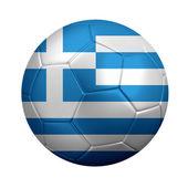 Fotboll insvept i greklands nationella flagga — Stockfoto