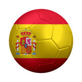 Soccer Ball Dressed in Spanish Flag — Stock Photo