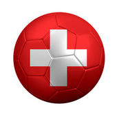 Soccer Ball Wrapped in Swiss Flag — Stock Photo