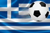 Soccer Ball Leaps Out of Greece's Flag — Stockfoto