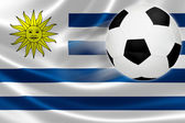 Soccer Ball Leaps Out of Uruguayan Flag — Stock Photo