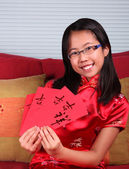 Asian Girl Celebrates Chinese New Year — Stock Photo
