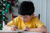 ładny chłopiec azjatyckich odrabiania lekcji — Zdjęcie stockowe