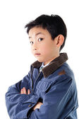 Asian Boy in Blue Jacket Posing — Stock Photo