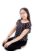 Asian Tween Girl in kneeling Pose — Stock Photo