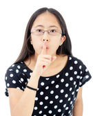 Tween Girl With a Silence Gesture — Stock Photo