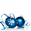 Blue Christmas Baubles With Copy Space — Stock Photo #50128003