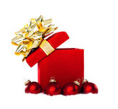 Christmas Gift and Baubles Isolated on White — Photo