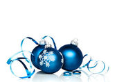 Blue Christmas Baubles With Copy Space — Stock Photo