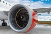 Red Engine of a Commercial Plane — Stock Photo