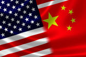 Merged Flag of China and USA — Stock Photo