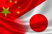 Merged Flag of China and Japan — Stock Photo