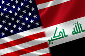 Merged Flag of Iraq and USA — Stock Photo