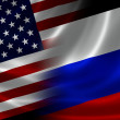 Merged Flag of USA and Russia — Stock Photo #51036597