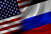 Merged Flag of USA and Russia — Stock Photo