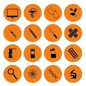 Black orange science icons — Stock vektor