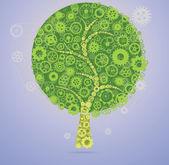 Wheel Rims and gears Tree — Stock Vector