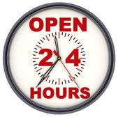 Open 24 Hours Clock — Stock Photo