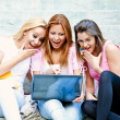 Happy young college girls — Foto Stock
