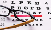 Glasses and eye chart — Stock Photo