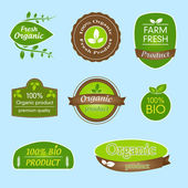 Bundle of labels for bio, organic, all natural food and eco-friendly products — Stock Vector