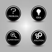 Icons of problem solving process — Stockvector