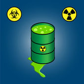 Barrel leaking toxic waste with  icons of biohazard and radioactivity — Stock Vector