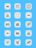 Collection of icons for mobile applications and web in light grey design — Vecteur