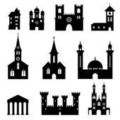 Buildings - set of silhouette churches and castles — Stock Vector