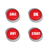 Red buttons with various commands such as sale, buy or start — Vecteur