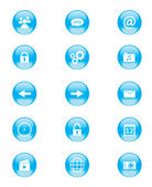 Set of blue and white circular buttons for mobile phone applications or web — Stock Vector