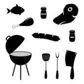 Set of barbecue related icons, food, grill and tools — Stock Vector