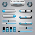 conjunto de varios reguladores azules para web — Vector de stock  #50023889