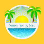Summer time is here - illustration with palm trees and sunrise over the sea water — Vecteur