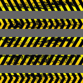 Set of grunge yellow caution tapes - isolated illustration — Stock Vector