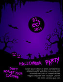 Halloween party flyer template - purple and black — Stock Vector