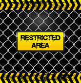 Restricted area sign - wire fence and yellow tapes illustration — Stock Vector