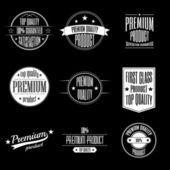 Set of vintage style labels - premium quality product and guaranteed satisfaction signs — Stockvektor