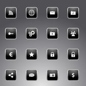 Set of black icons with silver outline — Stock Vector