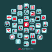 Flat business icons set. Vector illustration. — Stock Vector