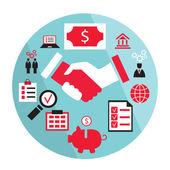 Flat business elements handshake partnership concept etc — Stock Vector