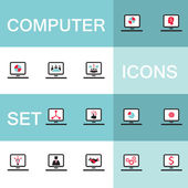 Set of icons for computer electronics business — Stock Vector
